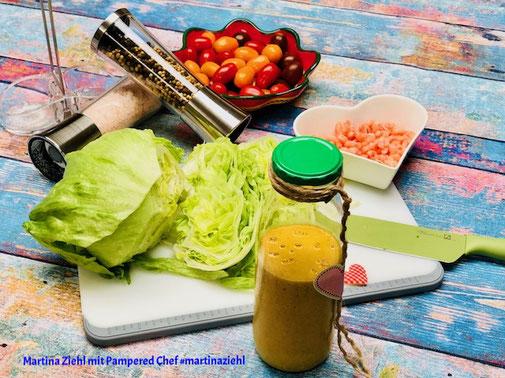Salat-Dressing Feurig-Süßes-Mango-Dressing #martinaziehl #pamperedchef #zauberhafteleckereien #salatsauce #salat #dressing #garnelen_sauce