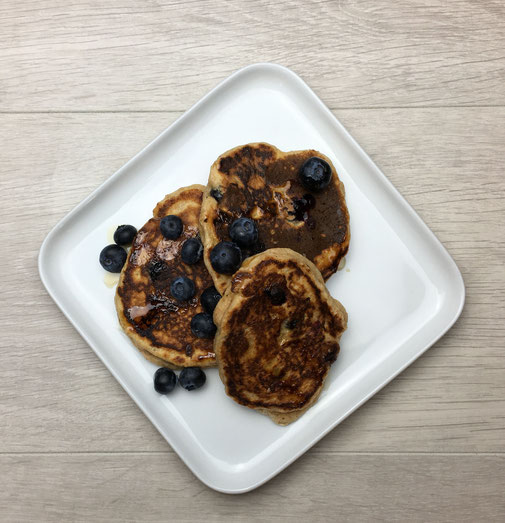 3 Blueberry Pancakes topped with more Blueberries