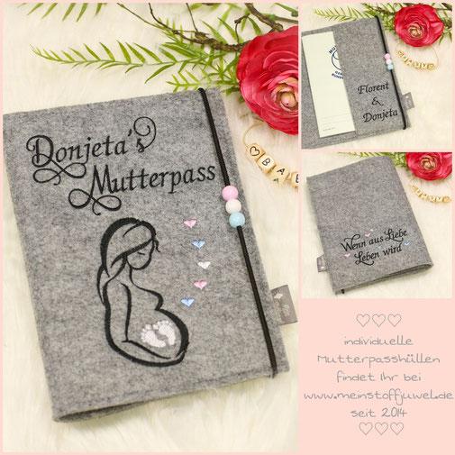 Mutterpasshülle personalisiert mit Bestickter Innenlasche mit den Namen der Eltern sowie der bestickten Rückseite