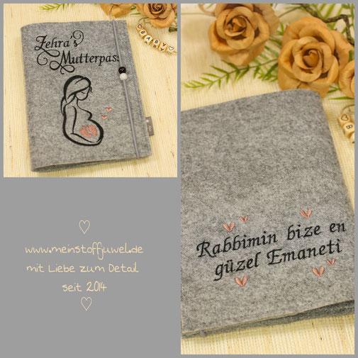 Mutterpasshülle ganz persönlich mit Namen und Wunschtext auf der Rückseite
