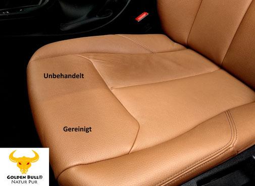 Reinigungskraft Golden Bull Foam Cleaner auf glattem Autoleder. Gereinigter, sauberer Ledersitz im Auto.