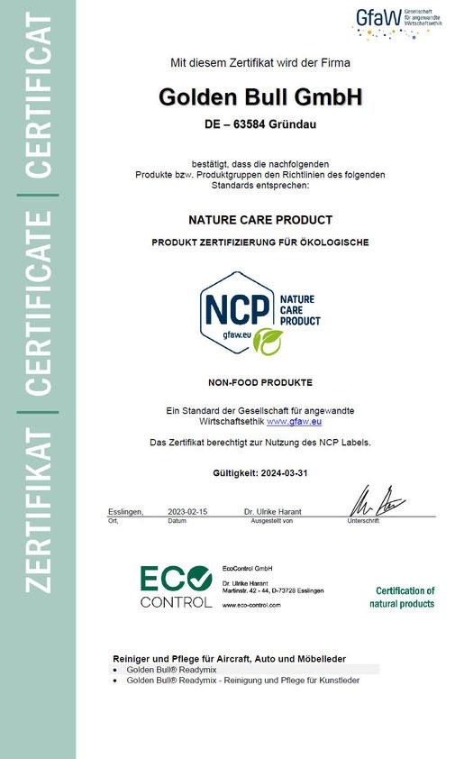 Readymix - Das zertifizierte, ökologische Lederreinigungsmittel bzw. Lederpflege Produkt für Auto und Sofa von Golden Bull.