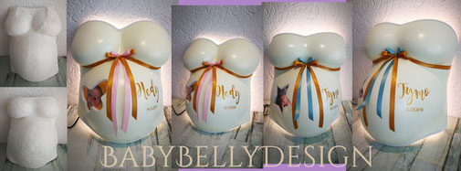 Gipsabdruck vom Babybauch, Babybauchabdruck, Überarbeitung, Oberflächenglättung, Veredelung, Gestaltung, Bemalung, Babyfoto, Hintergrundbeleuchtung,
