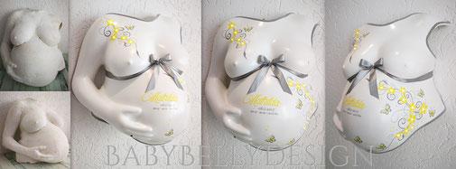 Gipsabdruck vom Babybauch, Babybauchabdruck, Überarbeitung, Oberflächenglättung, Veredelung, Gestaltung, Bemalung, Blumenranke, Ornament, Schnörkel, Baby-Herz, Hintergrundbeleuchtung, Lampe Leinwand