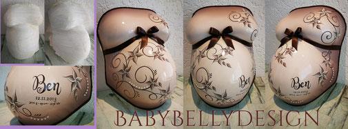 Gipsabdruck vom Babybauch, Babybauchabdruck, Überarbeitung, Oberflächenglättung, Veredelung, Gestaltung, Bemalung, Blumenranke, Ornament, grün, Posamentenborte, BH