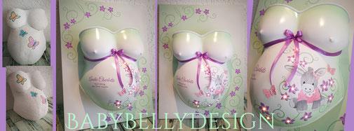 Gipsabdruck vom Babybauch, Babybauchabdruck, Überarbeitung, Oberflächenglättung, Veredelung, Gestaltung, Bemalung, Blumenranke, Pink, Rosa, Mädchen, LED-Beleuchtung, Esel