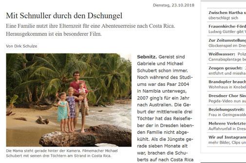 Sächsische Zeitung Costa Rica Reisefilm Artikel