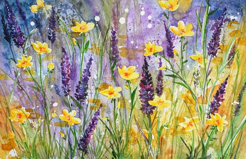 Aquarelle fleurs, flower watercolor,peinture aquarelle contemporain