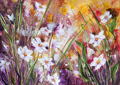 Aquarelle fleurs, flower watercolor contempory painting