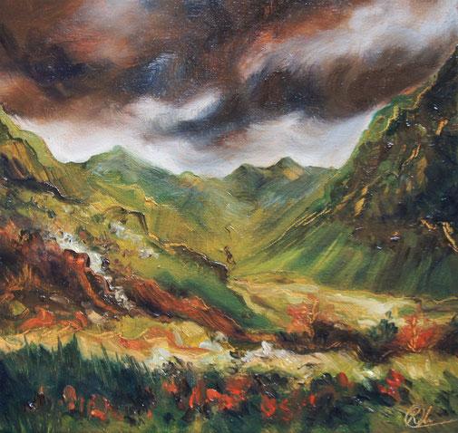 peinture à l'huile paysage d écosse, Scotland oil painting, landscape painting
