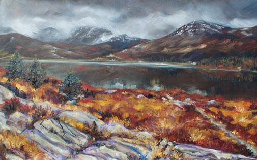 peinture à l'huile paysage d écosse, Scotland oil painting, landscape Torridon painting