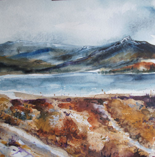 peinture aquarelle paysage d écosse, Scotland water color, landscape Torridon painting