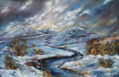 Scotland, abstract oil painting, Snowy mountains
