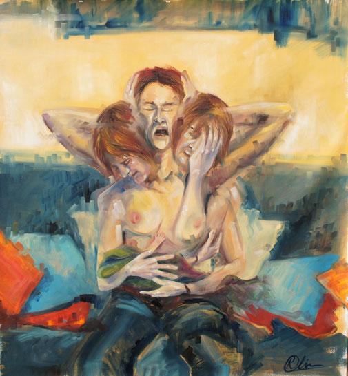 Peinture à l'huile sur toile, Postpartum dépression, autoportrait