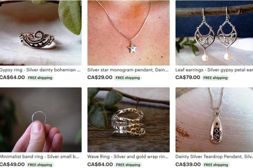 Jocelyne Veilleux bijoux artisanal Saint-Vallier, Québec, Cabada, Bellechasse, jewels, argent sterling, silver