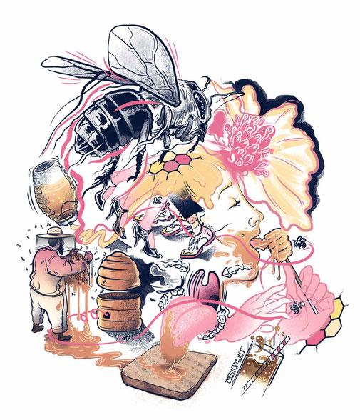 Sensor Magazin, Wiesbaden, Cover Illustration, Imkern in der Stadt, Urbane Bienenzucht