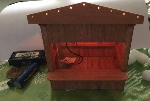 Versuchsaufbau: Lichtleiter und Beleuchtung mit 3V Birnchen von Weihnachtsbeleuchtung