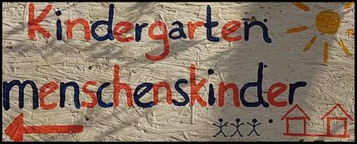 Schild Kindergarten Menschenskinder