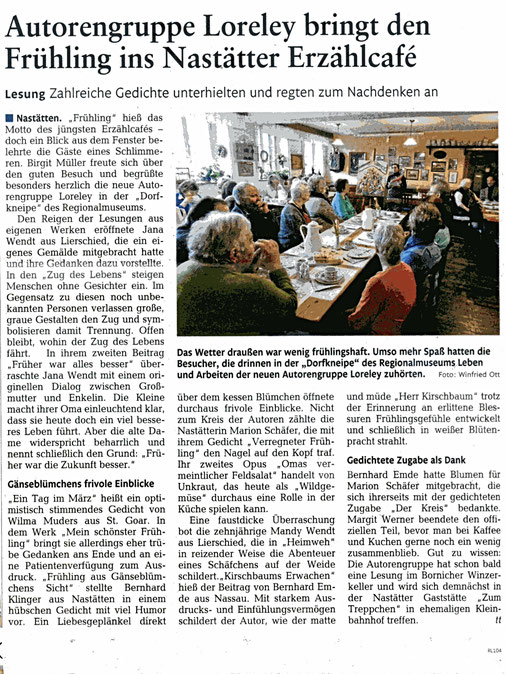 Artikel von Herrn Ott, Rhein-Lahn-Zeitung vom 13.03.17