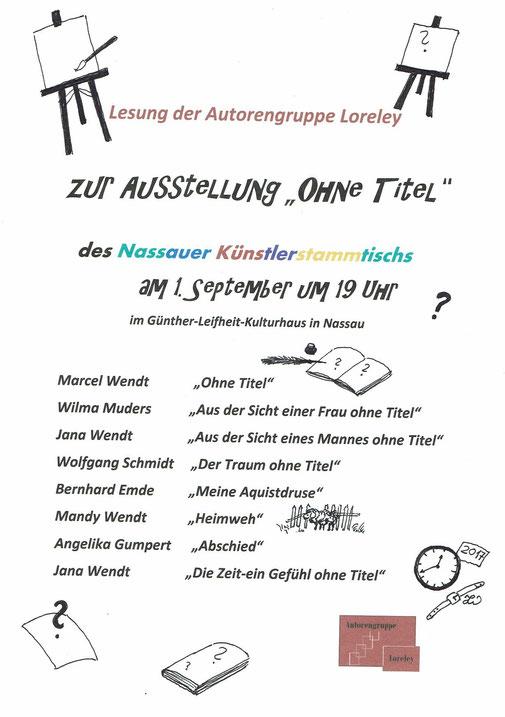 """Lesungsprogramm; da Bernhard Emde leider verhindert war, verlas Marcel Wendt seinen Text """"Wisst ihr was""""."""