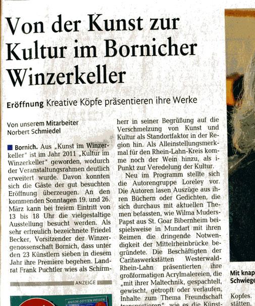 Ausschnitt aus Artikel von Norbert Schmiedel, Rhein-Lahn-Zeitung vom 14.03.17