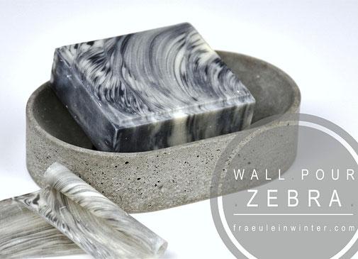 Zebra Swirl Seife kombiniert mit Topfswirl | Fräulein Winter