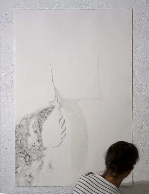 """Enfoui désempli"", dessin, 80x120 cm, graphite sur BFK Rives, 2019, photo © David Kidman"