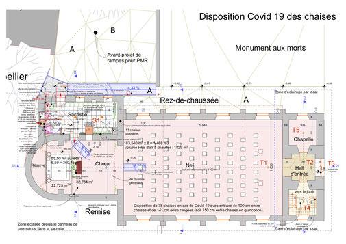 75 chaises en disposition conforme aux restrictions liées au COVID-19