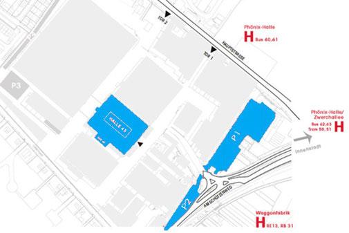 Parkplätze an der Halle 45