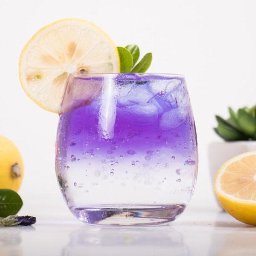 Blaue Klitorie, blauer Eis Tee