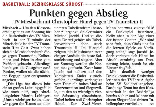 Artikel im Miesbacher Merkur am 24.2.2018 - zum Vergrößern klicken