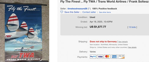 Fly the Finest - Fly TWA - Original vintage airline poster by Frank Soltesz