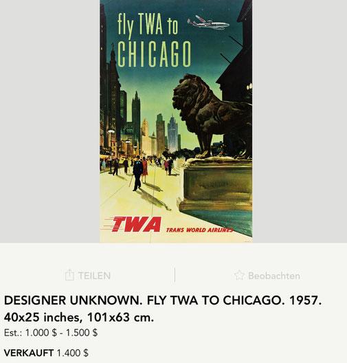 TWA - Chicago - Original vintage airline poster