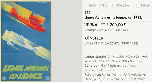 Lignes Aeriennes Italiennes - Umberto di Lazzaro - Original vintage airline poster