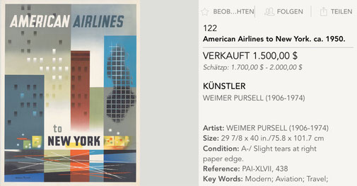 American Airlines - New York - Weimer Pursell - Original vintage airline poster