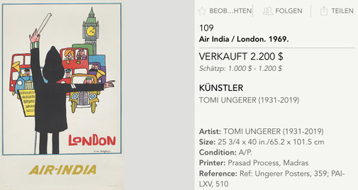 Air-India - London - Original vintage airline poster by Tomi Ungerer