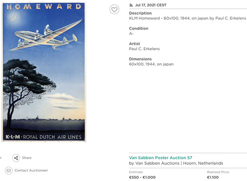 KLM - Homeward - Paul C. Erkelens - Original vintage airline poster