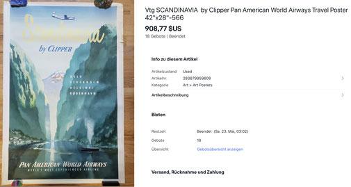 Pan American World Airways - Scandinavia by Clipper - Original vintage airline poster