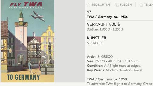 TWA to Germany - Simon Greco - Original vintage airline travel poster