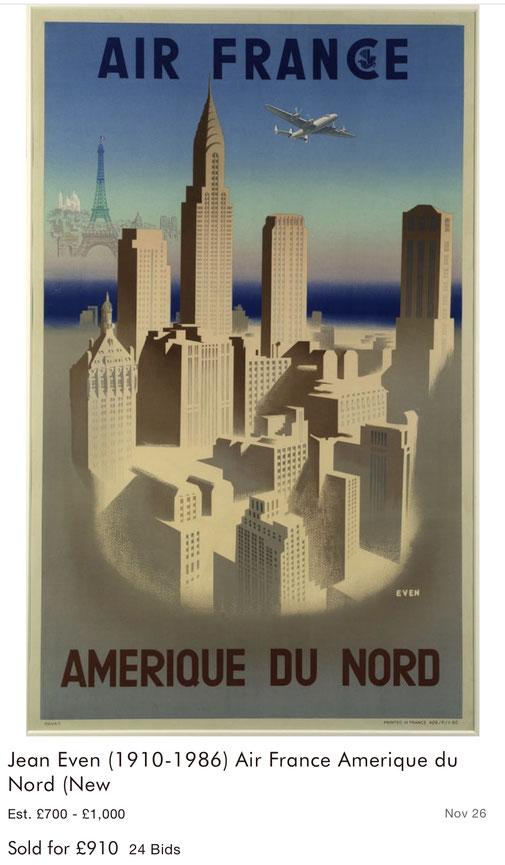 Air France - Amerique du nord - Jean Even - Original vintage airline poster
