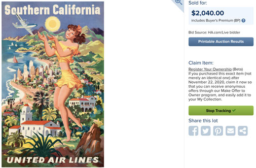 United Air Lines - Southern California - Joseph Feher - Original vintage airline travel poster