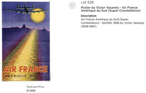 Air France - Amerique du Sup- Original vintage airline poster by Victor Vasarely