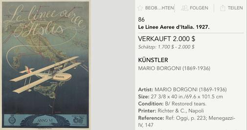 Le Linee Aeree d'Italia - Original vintage airline poster by Mario Borgoni