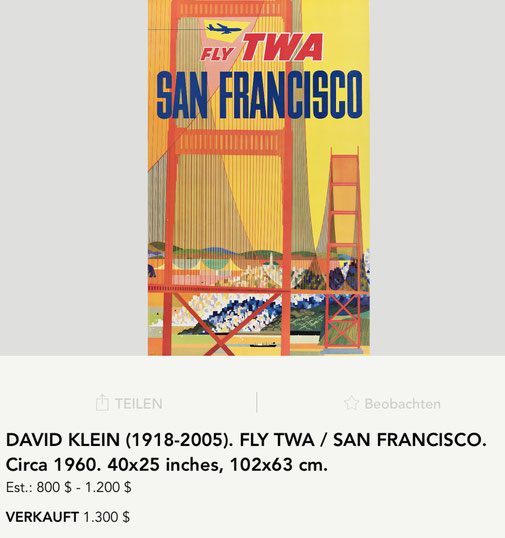 TWA - San Francisco - David Klein - Original vintage airline poster