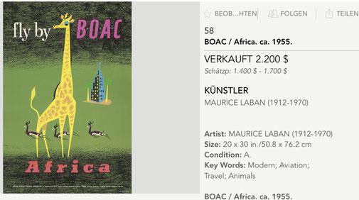 BOAC - Africa - Maurice Laban - Original vintage airline poster
