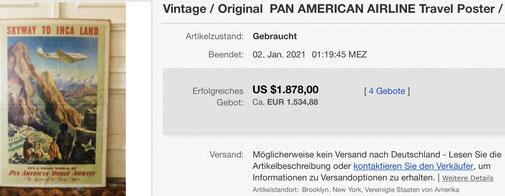 Pan American World Airways - Skyway to Inca Land - Paul George Lawler - Original vintage airline poster
