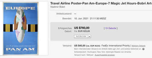 Pan Am - Europe - Original vintage travel airline poster by Bobri