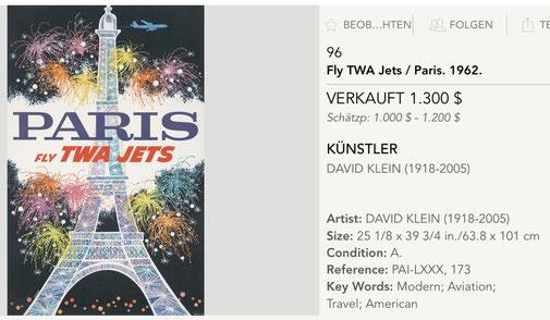 TWA - Paris - David Klein - Original vintage airline travel poster