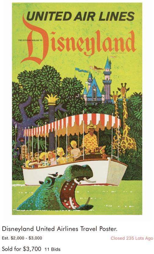 United Air Lines - Disneyland - Stan Galli - Original vintage airline travel poster