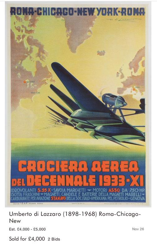 Crociera Aerea - Roma–Chicago–New York - Umberto di Lazzaro - Original vintage airline poster